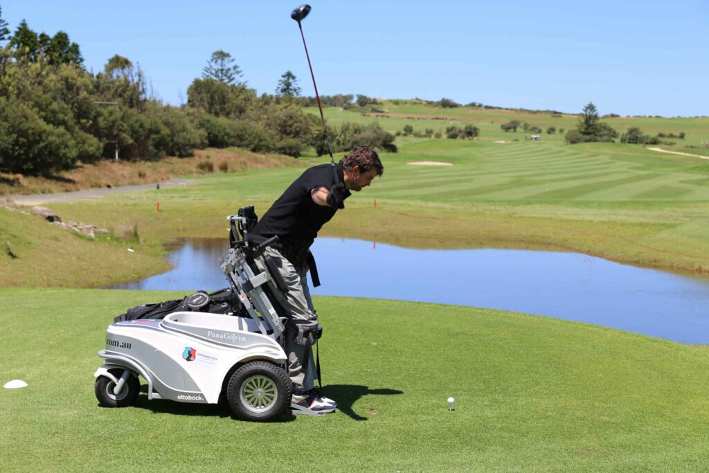 donate to empower golf, equipment image, james playing golf in paragolfer
