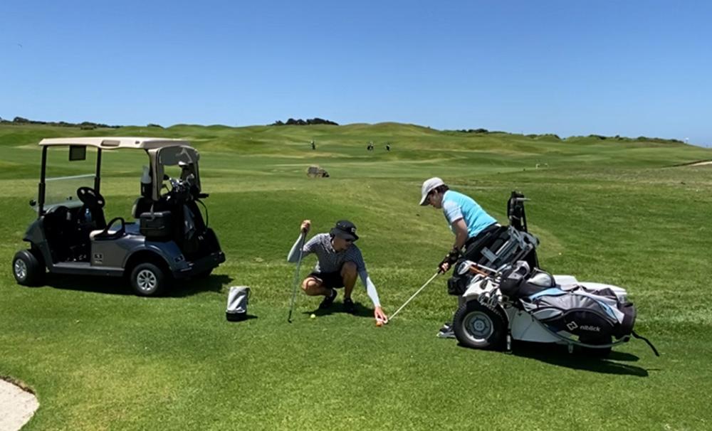 funding feature image, sam newbrun coaching an empower golf player
