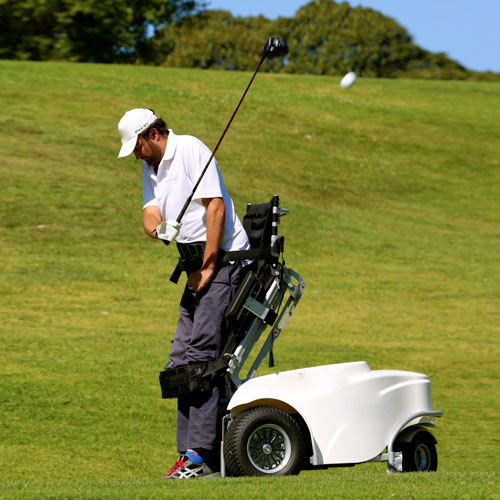 empower golf adaptive equipment, image of James in paragolfer