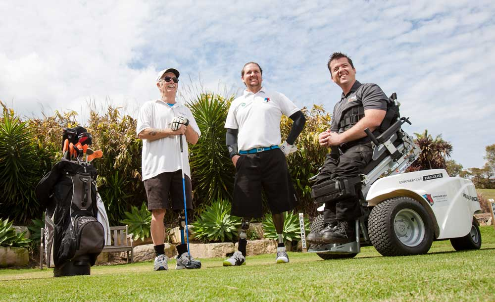 contact empower golf hero image, golf clinic participants posing with a coach